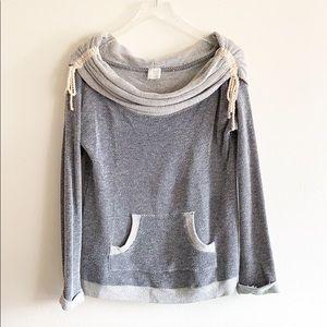 Ella Moss Rope Tie Blue Off Shoulder Sweater sz S